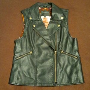 Sanctuary asymmetric zip leather vest